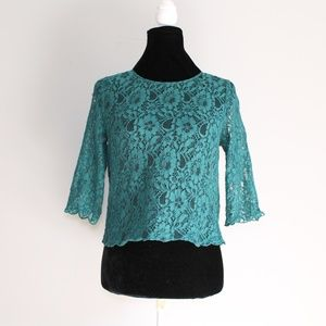 H&M Green Teal Lace Button Back Blouse Sz 6